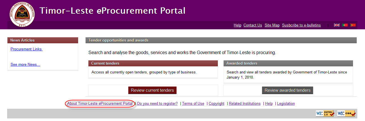 About eProcurement Portal Link in Home Page